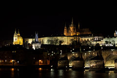 Hradcana Night Prag - nocni Praha Stock Photo