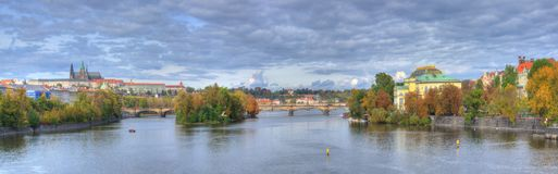 Hradcany castle, Charles bridge, Vltava river, Prague, Czech republic- panorama Stock Photo