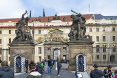 Hradcany Castle in Prague. An honor guard at the post at the entrance to the Presidential Palace in the Prague Castle on October 15, 2016 in Prague, Czech Royalty Free Stock Image