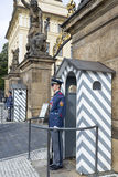 Hradcany Castle in Prague. An honor guard at the post at the entrance to the Presidential Palace in the Prague Castle on October 15, 2016 in Prague, Czech Stock Photos