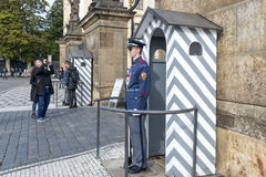 Hradcany Castle in Prague. An honor guard at the post at the entrance to the Presidential Palace in the Prague Castle on October 15, 2016 in Prague, Czech Stock Photo