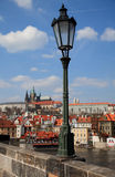 Hradcany dal ponticello del Charles, Praga Fotografia Stock Libera da Diritti