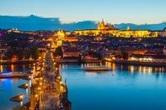 Hradcany evening panorama with Prague Castle, Charles Bridge and Vltava River, Prague, Czech Republic Stock Photo