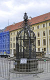 Hradcany Palace Courtyard fountain Cage from Prague in Czech Republic Stock Images