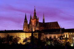 Hradcany - Prague castle at evening. A spacious residential and stronghold area dominantly located above the town, founded about the year 880. Residence of the royalty free stock photography