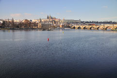 Hradcany and Prague Castle panorama - behind Vltav. This is famous panorama from Prague - Hradcany and Prague Castle in winter, under snow Royalty Free Stock Photography