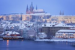 Hradcany with Prague castle during twilight Stock Photography