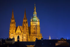Hradcany with Prague castle during twilight Stock Photos