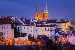 Hradcany with Prague castle during twilight Royalty Free Stock Images