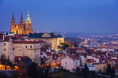 Hradcany with Prague castle during twilight Stock Images