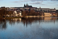 Hradcany with Prague Castle and Vltava river from Slovansky ostrov isle in Prague Royalty Free Stock Photography