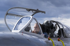 HRADEC KRALOVE, ΔΗΜΟΚΡΑΤΊΑ ΤΗΣ ΤΣΕΧΊΑΣ - 5 ΣΕΠΤΕΜΒΡΊΟΥ: Πειραματικός των αεριωθούμενων μαχητικών αεροσκαφών mikoyan-Gurevich miG- Στοκ φωτογραφία με δικαίωμα ελεύθερης χρήσης