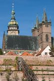 Hradec Kralove, Czech republic. Church of the Holy Spirit, White Tower and southern baroque gardens in town Hradec Kralove, Czech republic royalty free stock image