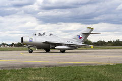 HRADEC KRALOVE, CZECH REPUBLIC - SEPTEMBER 5: Jet fighter aircraft Mikoyan-Gurevich MiG-15 developed for the Soviet Union rolling Royalty Free Stock Photography