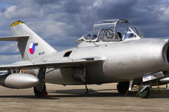 HRADEC KRALOVE, CZECH REPUBLIC - SEPTEMBER 5: Jet fighter aircraft Mikoyan-Gurevich MiG-15 developed for the Soviet Union standing Stock Photo