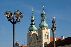 Hradec Kralove, Czech republic. Towers church of the Assumption in the Great Square in town Hradec Kralove, Czech republic stock image