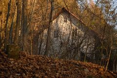 Hradecek, Czech republic - November 17, 2018: Vaclav Havel`s beloved cottage behind trees in Krkonose mountains of in day 29th royalty free stock photography