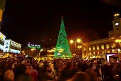 Åhörare på en julhändelse i Madrid Royaltyfri Fotografi