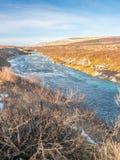 hraunfossar водопад Исландии стоковая фотография