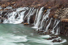 Hraunfossar cascade  waterfall in Iceland. Royalty Free Stock Image