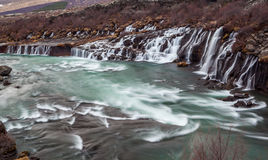 Hraunfossar cascade  waterfall in Iceland. Royalty Free Stock Photos
