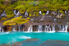The Hraunfossar falls in Iceland Stock Photography