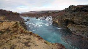 Hraunfossar horizontal waterfall in Icealand. Beautiful and maje Stock Photos