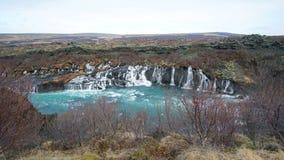 Hraunfossar horizontal waterfall in Icealand. Beautiful and maje Royalty Free Stock Photo