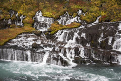 Hraunfossar - Hvita River - Husafell - Iceland Stock Photos