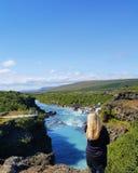 Hraunfossar i Island Royaltyfria Foton