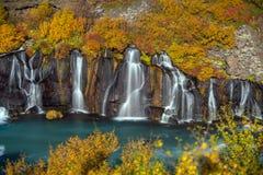 hraunfossar iceland vattenfall Höst royaltyfri fotografi