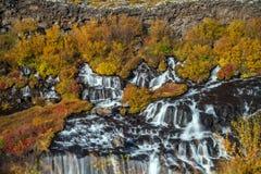 hraunfossar iceland vattenfall Höst arkivfoton