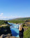 Hraunfossar in IJsland Royalty-vrije Stock Foto's