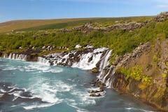 Hraunfossar, Island Lizenzfreies Stockbild