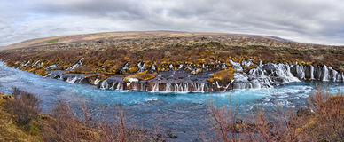 Hraunfossar panorama Fotografia Stock
