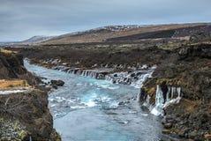 Hraunfossar siklawa, północny zachód Iceland zdjęcia royalty free