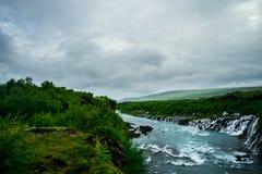 Hraunfossar Wasserfall Lizenzfreies Stockbild