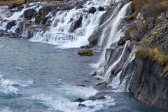 Hraunfossar waterfall in autumn Royalty Free Stock Images