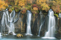 Hraunfossar waterfall in autumn Stock Photo
