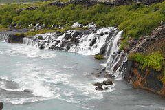 Hraunfossar, waterfall in Iceland Stock Images