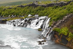 Hraunfossar, waterfall in Iceland Stock Photography