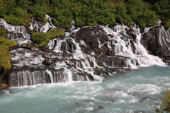Hraunfossar Waterfall in Iceland Royalty Free Stock Photos