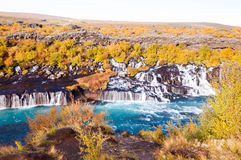 Hraunfossar waterfall, Iceland Royalty Free Stock Photography