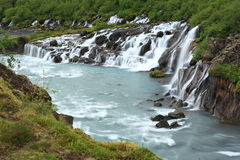 Hraunfossar waterfall Stock Photo