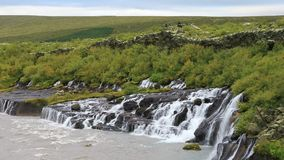 Hraunfossar waterfall in west Iceland stock footage