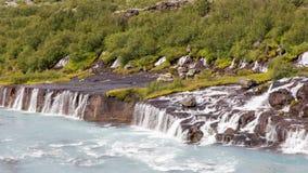 Hraunfossar waterfalls in Iceland Royalty Free Stock Image