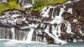 Hraunfossar waterfalls in Iceland Stock Photos