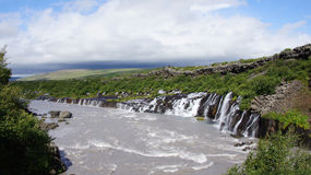 Hraunfossar waterfalls. Panorama overview Iceland stock images