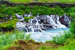 Hraunfossar Waterfalls Royalty Free Stock Images