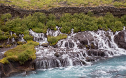 Hraunfossar, waterfalls in western Iceland Royalty Free Stock Photos